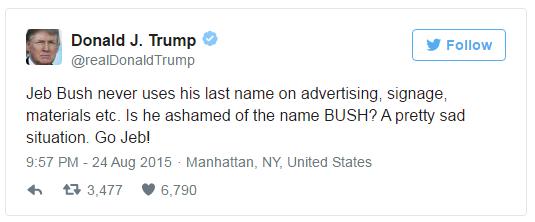 Trump twee at Jeb