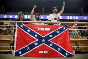 (L-R) Brandon Miles, Brandon Partin and Michael Miles cheer before Republican U.S. presidential nominee Donald Trump attends a campaign rally at the Silver Spurs Arena in Kissimmee, Florida August 11, 2016. REUTERS/Eric Thayer - RTSMSW0 via Salon